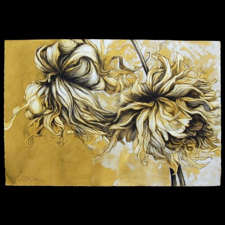 Fall Dahlia Year conte crayon and gouache on paper drawing ORIGINAL signed Helen Gotlib