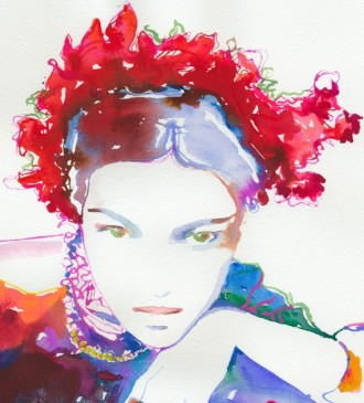 Watercolour Fashion Illustration - Ruby Headdress