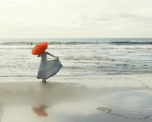 The Red Umbrella at the Edge of the Sea 8x10 Fine Art Photograph